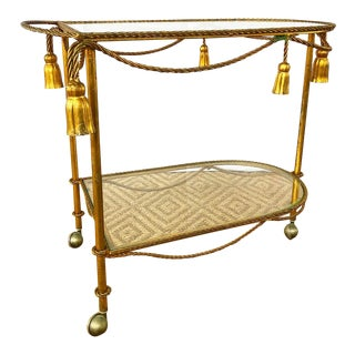 Vintage Italian Rope and Tassel Bar Cart With Aged Gold Gilded Finish For Sale