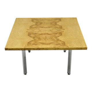Milo Baughman Mid Century Modern Burl & Chrome Burlwood Square Coffee Table For Sale