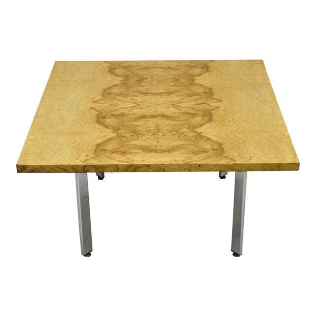 Milo Baughman Mid Century Modern Burl & Chrome Burlwood Square Coffee Table For Sale