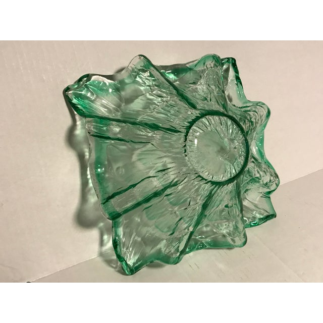 Vintage Mid-Century Modern Murano Italy Hand Blown Green Bowl For Sale - Image 12 of 13