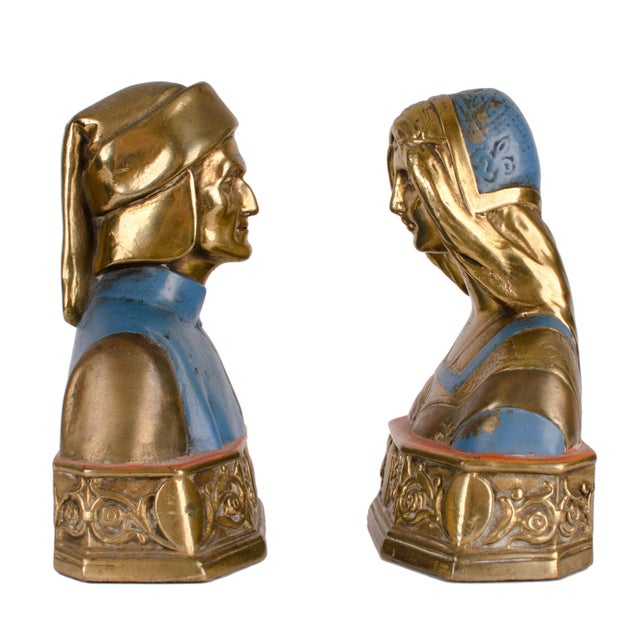 Art Deco Dante and Beatrice Bronze Bookends For Sale - Image 3 of 6