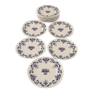 Vintage Hand Painted French Bread Plates - Set of 12