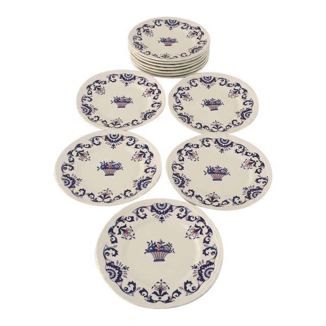 Vintage Hand Painted French Bread Plates - Set of 12 For Sale
