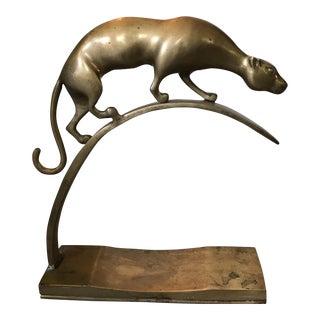 Vintage ArtDeco Brass Prowling Wild Cat Sculpture