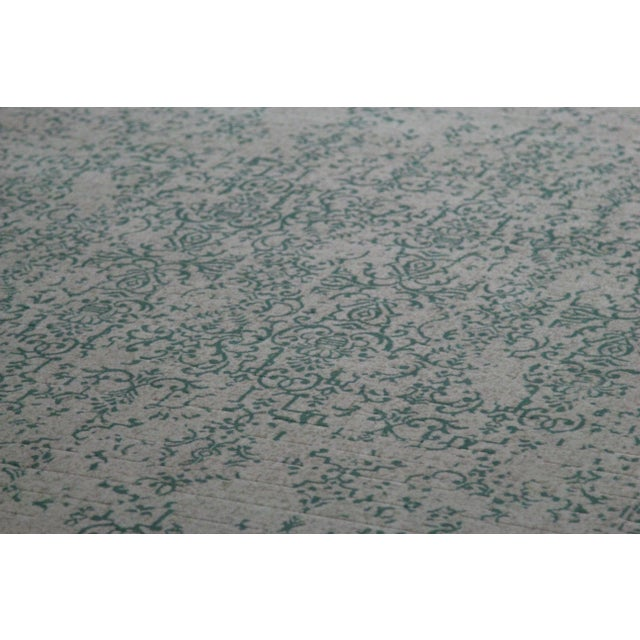 """Teal Distressed Patterned Rug - 8'x10'7"""" - Image 3 of 7"""