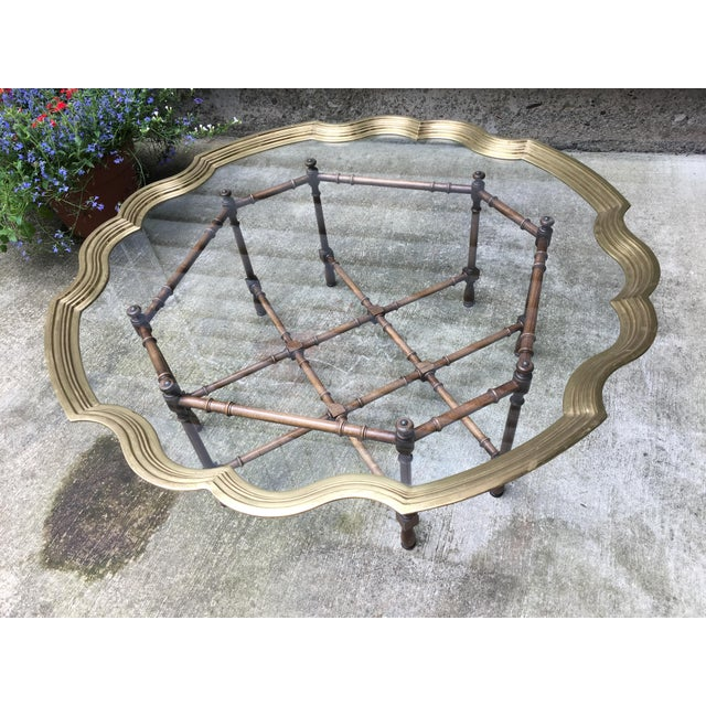 20th Century Chinoiserie Style Glass & Brass Cocktail Tray Table For Sale - Image 13 of 13