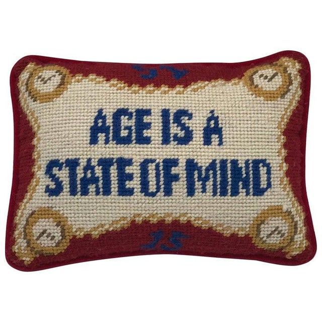 "1960s ""Age Is a State of Mind"" Needlepoint Pillow With Velvet Backing For Sale - Image 4 of 5"