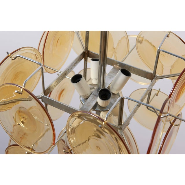Blown Glass Amber Glass Disc Vistosi Chandelier For Sale - Image 7 of 11