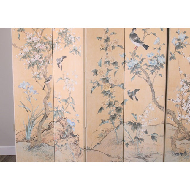 Almond Monumental Oriental 2 Piece 8 Panel Hand Painted Folding Screen Room Divider For Sale - Image 8 of 13