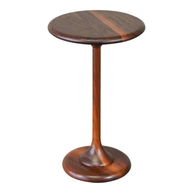 Small Walnut Pedestal Base Side Table - Image 1 of 6