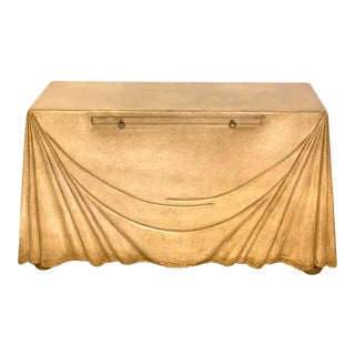 Aldo Tura Parchment Leather Trompe l'Oeil Draped Console For Sale