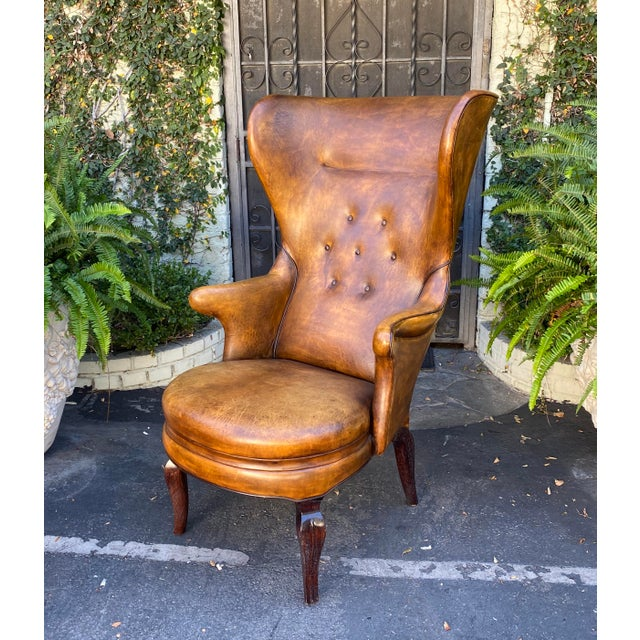 1990s Rose Tarlow Melrose House Leather Wingback Chair For Sale - Image 5 of 5
