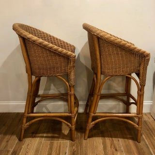 Mid Century Modern Organic Bamboo Wicker and Rattan Stools - a Pair Preview
