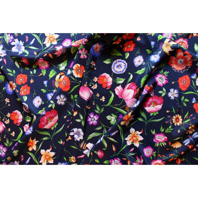 Silk Gucci Navy Floral Silk Fabric For Sale - Image 7 of 13