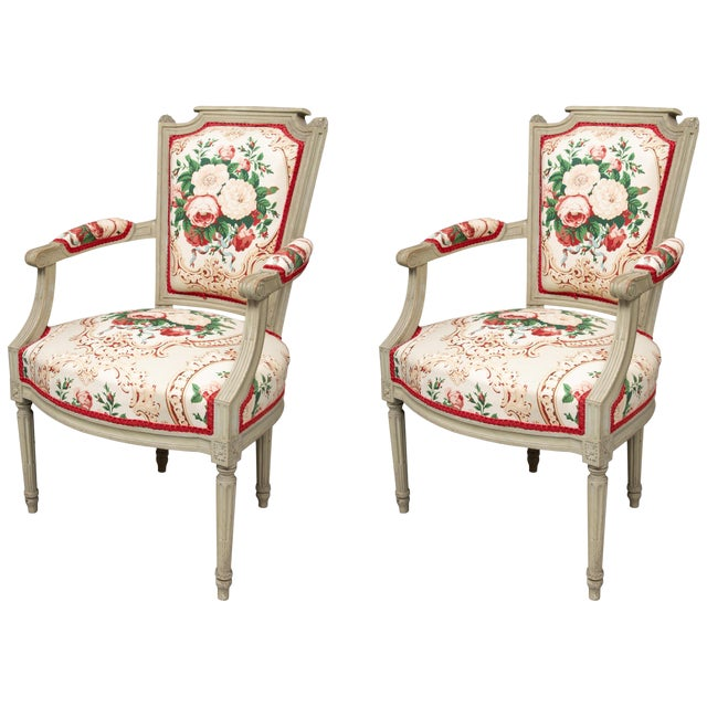 Louis XVI Style Painted Armchairs - a Pair For Sale
