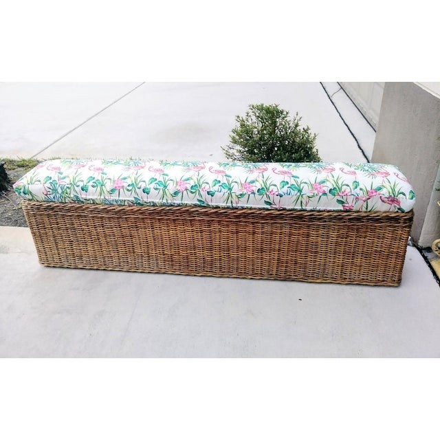 1990s Vintage Wicker Heavy Duty Newly Custom Upholstered Hall End of Bed Bench Seat For Sale - Image 5 of 11