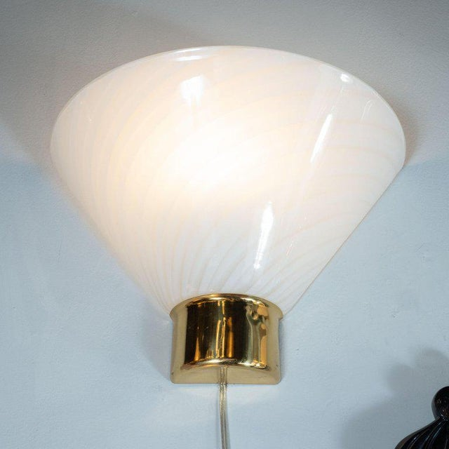 1960s Mid-Century Handblown Striated Murano Glass and Brass Sconces by Fabbian - a Pair For Sale - Image 5 of 8