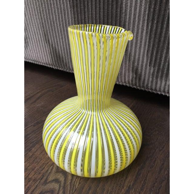 Murano blown glass decanter attributed to Fratelli Toso Murano Glass Latticino Filigrana signed yellow and white striped...