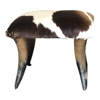Bullhorn Stool With Brown and White Cowhide For Sale