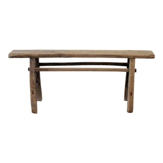 Antique Elm Wood Narrow Bench For Sale