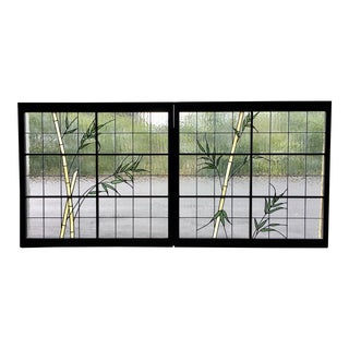 Modern Style Green Leaded Glass Windows - a Pair For Sale
