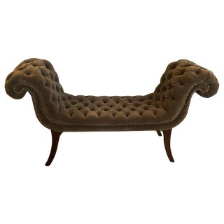 Mid 19th Century Vintage Rolls Royce English Regency Tufted Velvet Bench For Sale