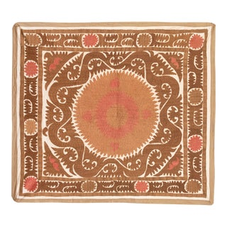 Suzani Embroidery Small Bedsheet, Boho Tapestry, Rustic Room Decor For Sale