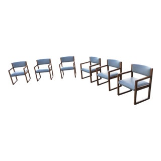 Danish-Modern Tiger Oak Box Chairs on Sled Base - Set of 6 For Sale