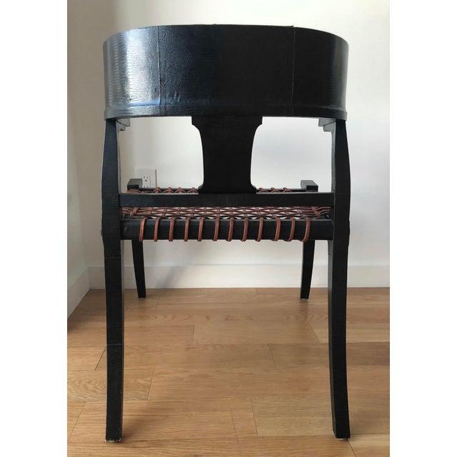 Scala Luxury D Klismos Chair in Black Lizard For Sale - Image 4 of 8