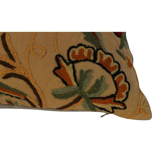 English Crewelwork Floral Pillows - Pair - Image 3 of 6