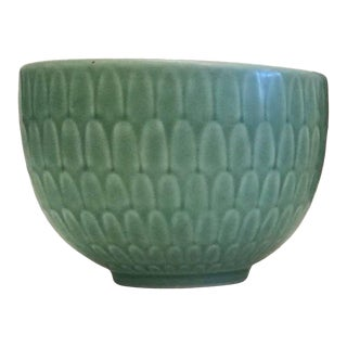 Mid-Century Modern Nils Thorsson Small Green Faience Marselis Bowl For Sale