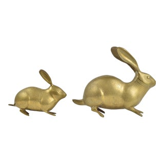 Brass Bunny Rabbit Figures - a Pair For Sale