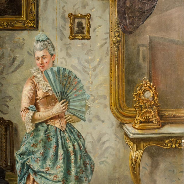 "Mid 19th Century ""Ladies Charm"" Figurative Victorian Oil Painting by Eduard Merk For Sale In Philadelphia - Image 6 of 11"