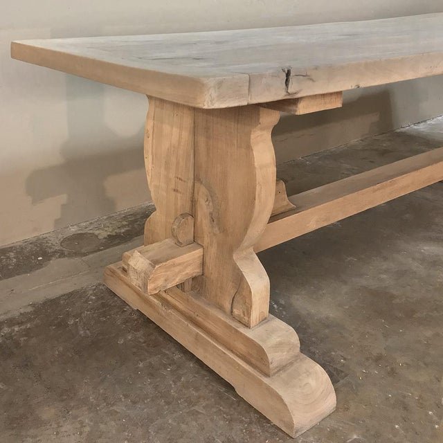 Late 19th Century Trestle Dining Table, 19th Century Country French Provincial in Stripped Walnut For Sale - Image 5 of 13