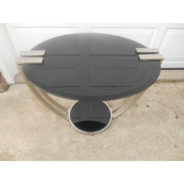 Oval Black Glass & Metal Art Deco Style End Table - Image 2 of 6
