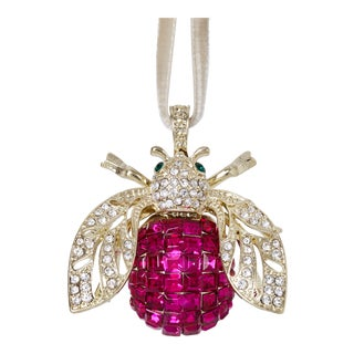 Sparkle Bee Hanging Ornament, Fuchsia For Sale