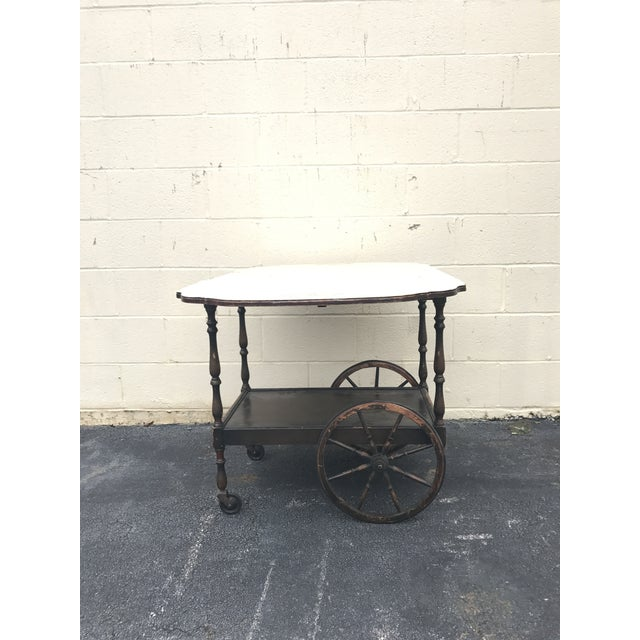 20th Century English Traditional Tea Cart With Collapsible Sides For Sale - Image 9 of 9