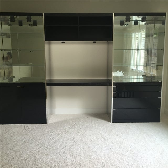 Modern Ello Black Glass Curio Cabinet Desk For Sale - Image 3 of 11