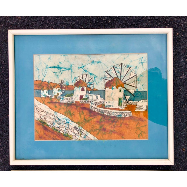 Boho Chic Vintage Greek Framed Batik and Cloth Paintings of Mykonos Windmills- a Pair For Sale - Image 3 of 12