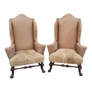 Baker Stately Homes Collection Mahogany Wingback Chairs Newly Upholstered - Pair For Sale