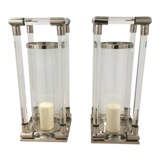 Contemporary Crystal Candle Hurricanes - a Pair