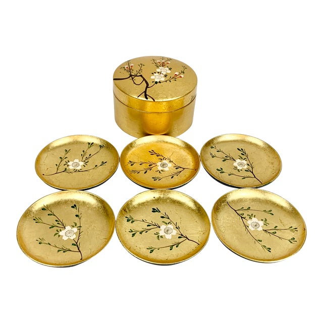 Vintage Japanese Set of Lacquered Gold Coasters With Box For Sale