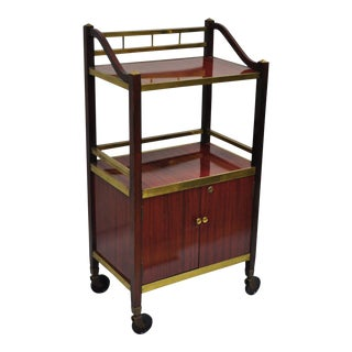 Mid-Century Italian Modern Brass & Masonite Drinks Trolley Bar Cart