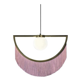 Wink Gold Pendant Lamp With Pink Fringes by Houtique & Masquespacio For Sale