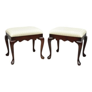 Vintage Pennsylvania House Queen Anne Cherry Wood Upholstered Stools Benches - a Pair For Sale