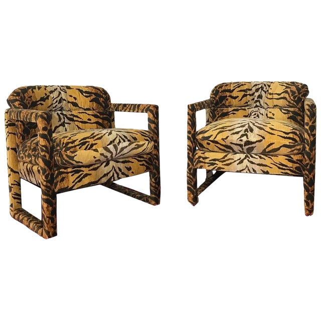 Custom Tiger Print Milo Baughman Chairs For Sale