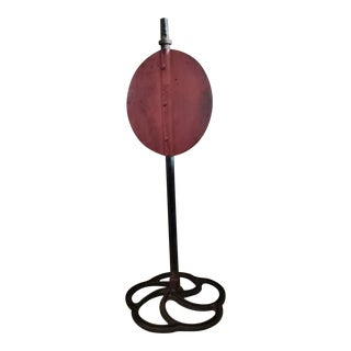 Antique American Railroad Iron Track Switch Target on Custom Stand For Sale