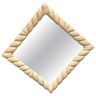 Midcentury Triangular or Square Mirror in the Style of Michael Taylor For Sale