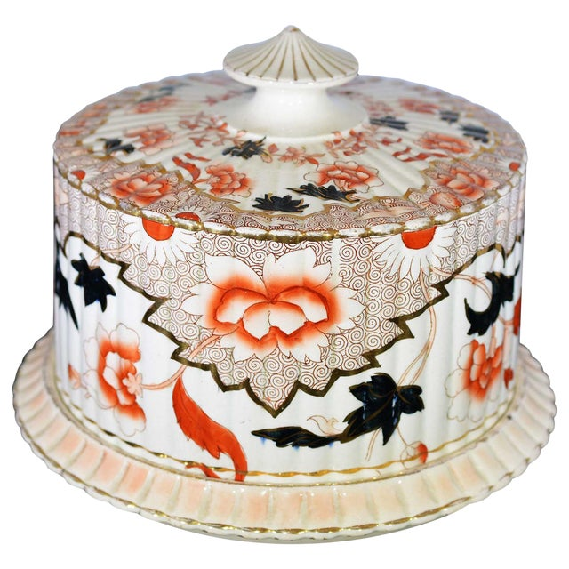 Victorian English Ceramic Cheese Dome With Printed and Hand Painted Decoration For Sale