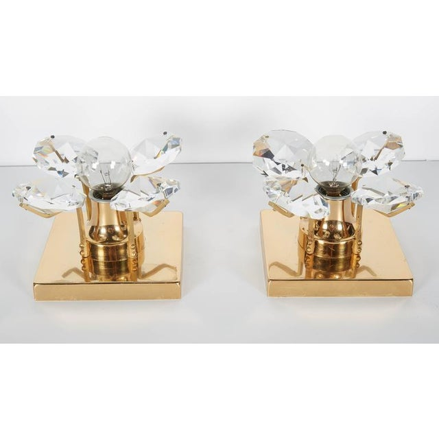 1960s Pair of Cut Crystal and Gold Hollywood Regency Sconces by Christoph Palme For Sale - Image 5 of 13